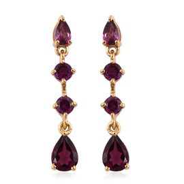 Rhodolite Garnet (Pear) Earrings (with Push Back) in 14K Gold Overlay Sterling Silver 2.000 Ct.
