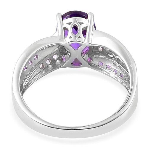 Amethyst (Ovl 1.75 Ct), White Zircon Ring in Platinum Overlay Sterling Silver 2.350 Ct.