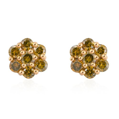 Canary Yellow Diamond (Rnd) Floral Stud Earrings (with Push Back) in 14K Gold Overlay Sterling Silver 1.000 Ct.