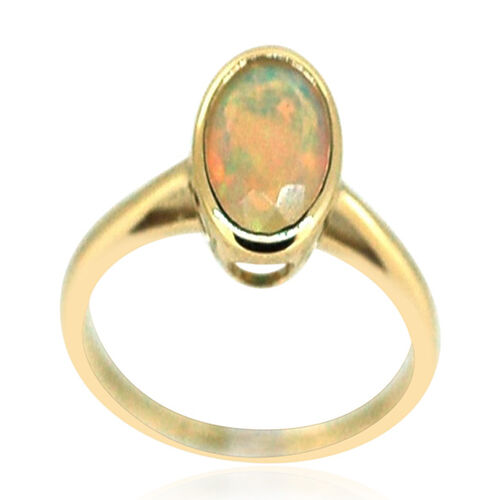 9K Y Gold Ethiopian Welo Opal (Ovl) Solitaire Ring 1.000 Ct.