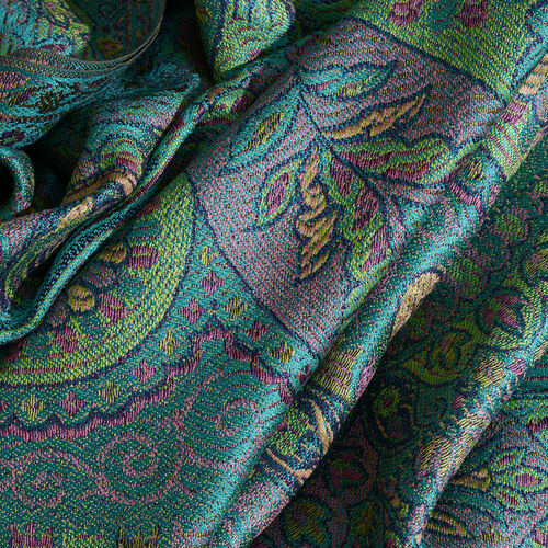 Silk Mark - 100% Super Fine Silk Yellow, Pink and Multi Colour Floral and Paisley Pattern Jolly Green Colour Jacquard Jamawar Scarf with Fringes (Size 180x70 Cm) (Weight 125 - 140 Gms)