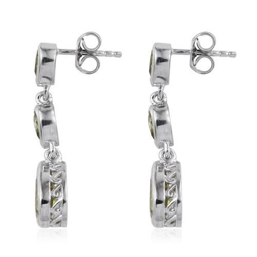 AA Hebei Peridot (Pear) Earrings (with Push Back) in Platinum Overlay Sterling Silver 3.250 Ct.