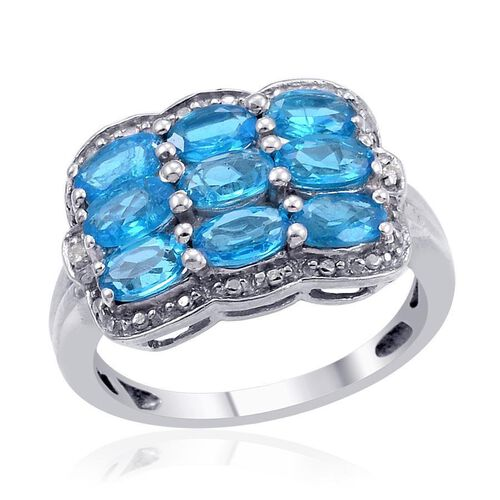 Malgache Neon Apatite (Ovl 2.00 Ct), Diamond Ring in Platinum Overlay Sterling Silver 2.020 Ct.