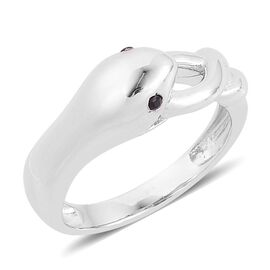 ELANZA AAA Simulated Black Spinel (Rnd) Snake Ring in Rhodium Plated Sterling Silver