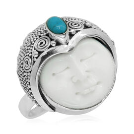 Princess Bali Collection OX Bone Carved Face (Rnd 11.00 Ct), Arizona Sleeping Beauty Turquoise Ring in Sterling Silver 11.170 Ct.