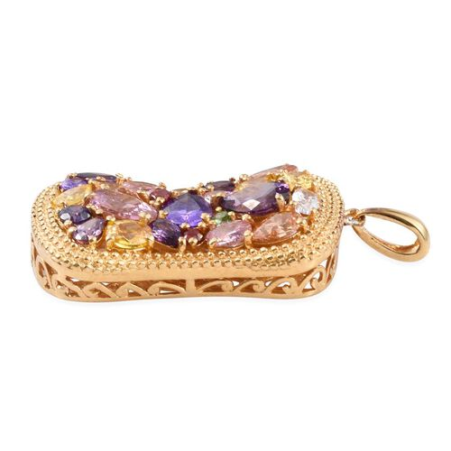 AAA Simulated Pink Sapphire (Ovl), Simulated Amethyst, Simulated Tanzanite, Simulated Citrine, Simulated White Diamond, Simulated Emerald and Multi Gem Stone Pendant in ION Plated 18K Yellow Gold Bond