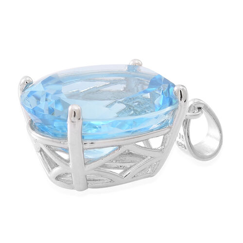 Limited Edition- Rare Size AAA Sky Blue Topaz (Ovl) Pendant in Rhodium Plated Sterling Silver 16.000 Ct.