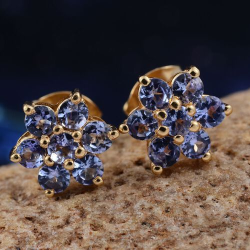 Tanzanite (Rnd) Floral Stud Earrings (with Push Back) in 14K Gold Overlay Sterling Silver 1.000 Ct.