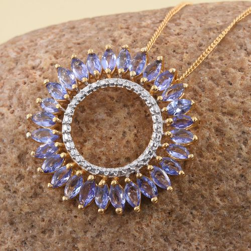 Tanzanite (Mrq) Pendant With Chain in 14K Gold Overlay Sterling Silver 2.500 Ct.