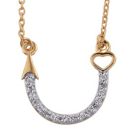 Natural Cambodian Zircon (Rnd) Arrow Necklace (Size 18) in 14K Gold Overlay Sterling Silver