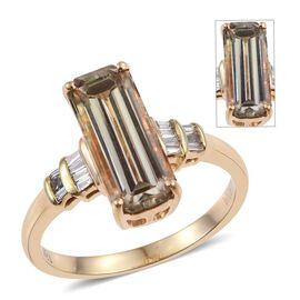 ILIANA 18K Yellow Gold 3.50 Carat Turkizite Long Octagon Solitaire Ring with Diamond SI G-H.