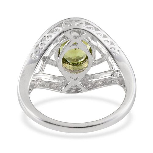 AA Hebei Peridot (Ovl) Solitaire Ring in Platinum Overlay Sterling Silver 2.500 Ct.
