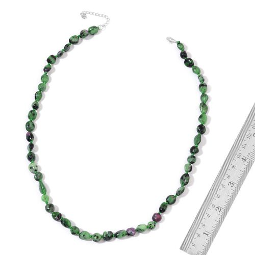 Ruby Zoisite Necklace (Size 18 with 2 inch Extender) in Rhodium Plated Sterling Silver 132.000 Ct.