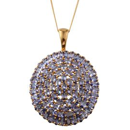 Tanzanite (Ovl) Cluster Pendant With Chain in 14K Gold Overlay Sterling Silver 17.750 Ct.