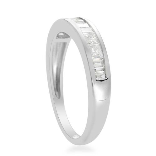 RHAPSODY 950 Platinum IGI Certified Diamond (Sqr) (VVS-VS/E-F) Half Eternity Band Ring 0.500 Ct.