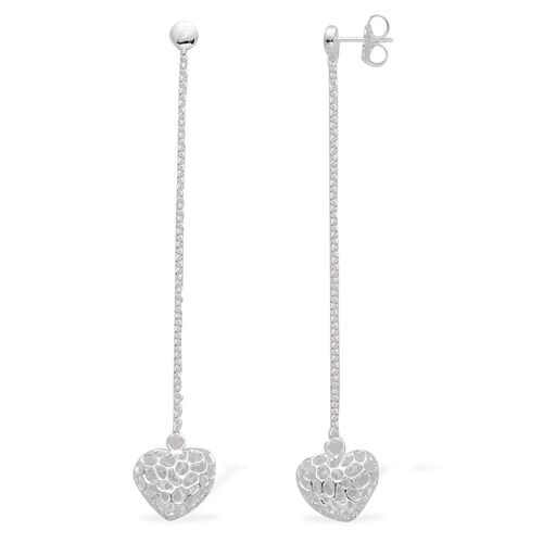 RACHEL GALLEY Sterling Silver Amore Heart Lattice Drop Earrings (with Push Back), Silver wt 5.68 Gms.