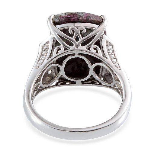 Natural Russian Eudialyte (Cush 9.00 Ct), White Topaz Ring in Platinum Overlay Sterling Silver 9.250 Ct.