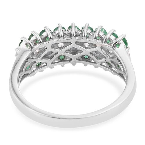 Kagem Zambian Emerald (1.25 Ct),White Topaz Platinum Overlay Sterling Silver Ring  2.000  Ct.