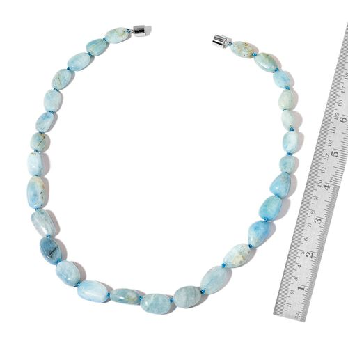 Rare Shape Espirito Santo Aquamarine Necklace (Size 18) with Magnetic Clasp in Rhodium Plated Sterling Silver 150.000 Ct.