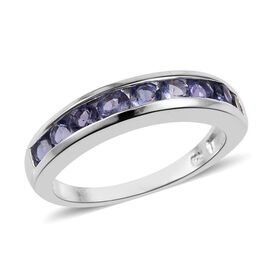Iolite (Rnd) Half Eternity Band Ring in Sterling Silver 1.000 Ct.