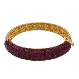 Burmese Ruby (Rnd) Bangle (Size 7.5) in 14K Gold Overlay Sterling Silver 20.000 Ct.