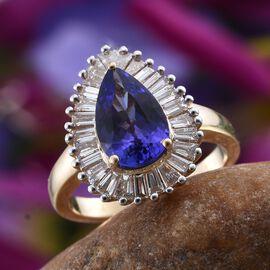 ILIANA 18K Y Gold AAA Tanzanite (Pear 2.50 Ct), Diamond Ring 3.250 Ct.