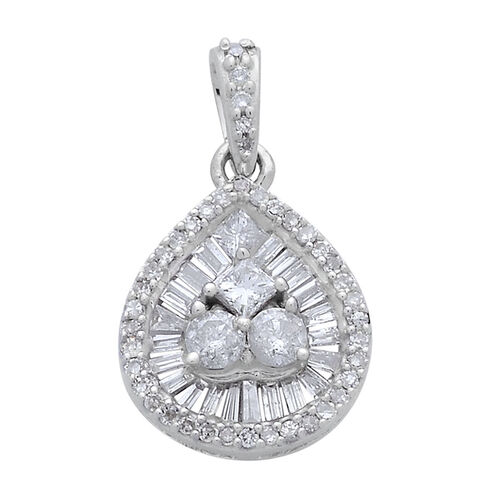 9K W Gold SGL Certified Diamond (Rnd) (I2/ G-H) Pendant 0.500 Ct.