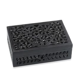 Hand Made Jali Cutout Work Rectangular Black Soapstone Box (Size 6x4x2 inch)