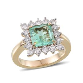 ILIANA 18K Y Gold Boyaca Colombian Emerald (Oct 2.45 Ct), Diamond Ring 3.350 Ct.