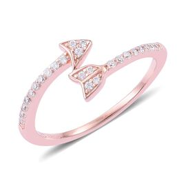 ELANZA AAA Simulated White Diamond Arrow Ring in Rose Gold Overlay Sterling Silver
