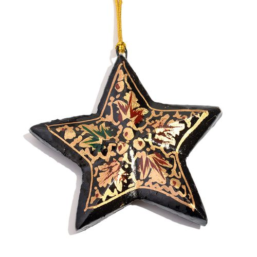 Christmas Decorations - Set of 3 Black Colour Paper Mache Hanging Christmas Stars