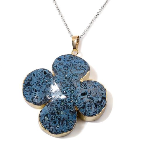 Blue Agate Pendant in Gold Tone with Stainless Steel Chain 160.000 Ct.