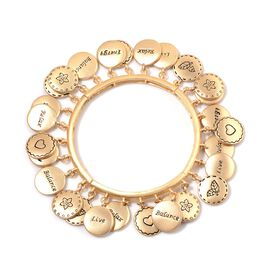 Designer Inspired Multi Charms Stretchable Bracelet (Size 7.5) in Gold Tone