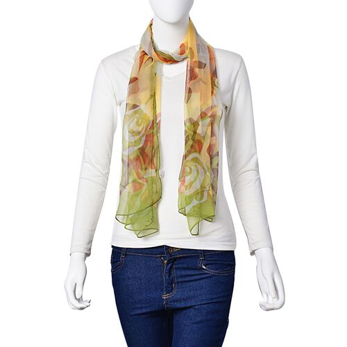 100% Mulberry Silk Brown, Yellow, Green and Multi Colour Rose Flower Pattern Scarf (Size 170x50 Cm)