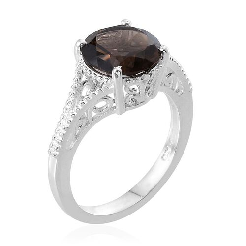 Brazilian Smoky Quartz (Rnd) Solitaire Ring in Sterling Silver 3.350 Ct.