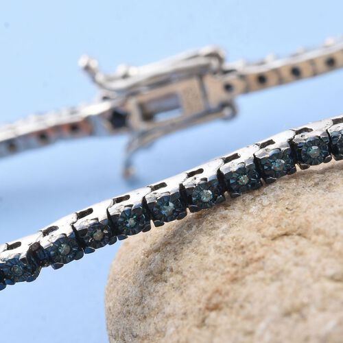 GP Blue Diamond (Rnd) (I4), Kanchanaburi Blue Sapphire Tennis Bracelet (Size 7.5) in Platinum Overlay Sterling Silver 0.360 Ct.