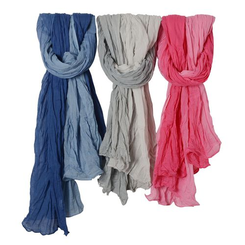 Set of 3 - 100% Cotton Light Blue, Grey, Off White and Pink Colour Scarf (Size 175x110 Cm)