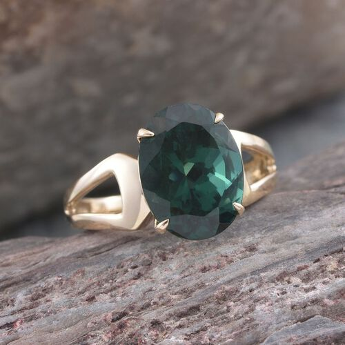9K Y Gold Teal Green Apatite (Ovl) Solitaire Ring 5.500 Ct.