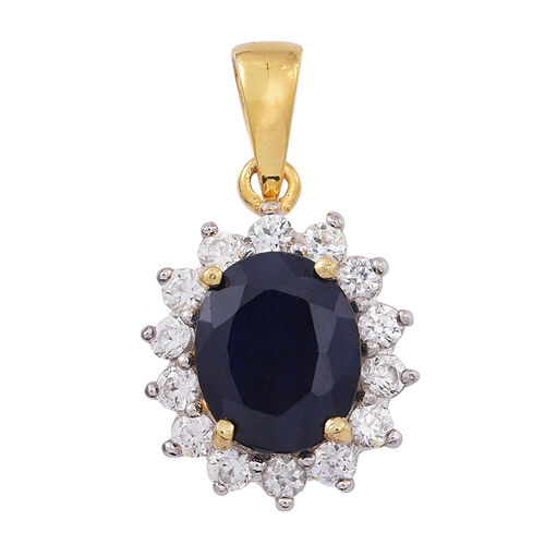 Madagascar Blue Sapphire (Ovl 4.50 Ct), Natural White Zircon Pendant in 14K Gold Overlay Sterling Silver 6.000 Ct.
