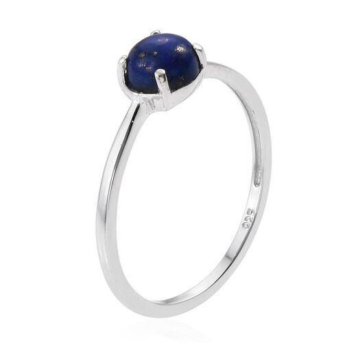 Lapis Lazuli (Rnd) Solitaire Ring, Pendant and Stud Earrings (with Push back) in Platinum Overlay Sterling Silver 4.500 Ct.