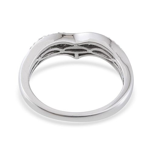 Diamond (Rnd) Stackable Chevron Ring in Platinum Overlay Sterling Silver 0.250 Ct.