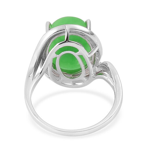 Chinese Green Jade (Ovl 13.70 Ct), White Topaz Ring in Platinum Overlay Sterling Silver 13.704 Ct.