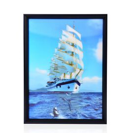 Sailing Ship Framed 3D Wall Painting (Size 40x30 Cm)