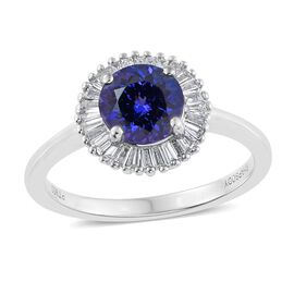 RHAPSODY 950 Platinum 1.75 Carat AAAA Tanzanite Halo Ring With Diamond (VS/E-F)