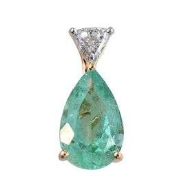 ILIANA 18K Y Gold Boyaca Colombian Emerald (Pear 2.65 Ct), Diamond Pendant 2.900 Ct.