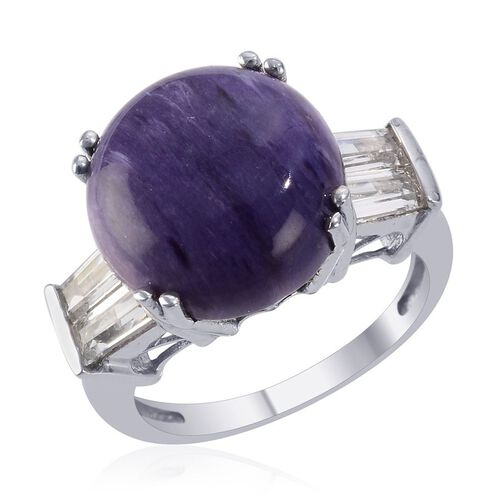 Russian Charoite (Rnd 8.50 Ct), White Topaz Ring in Platinum Overlay Sterling Silver 10.000 Ct.