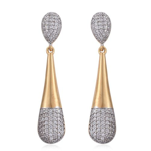 J Francis - 14K Gold Overlay Sterling Silver (Rnd) Drop Earrings (with Push Back) Made with SWAROVSKI ZIRCONIA