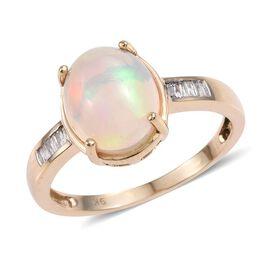 9K Y Gold Ethiopian Welo Opal (Ovl 2.65 Ct), Diamond Ring 2.750 Ct.
