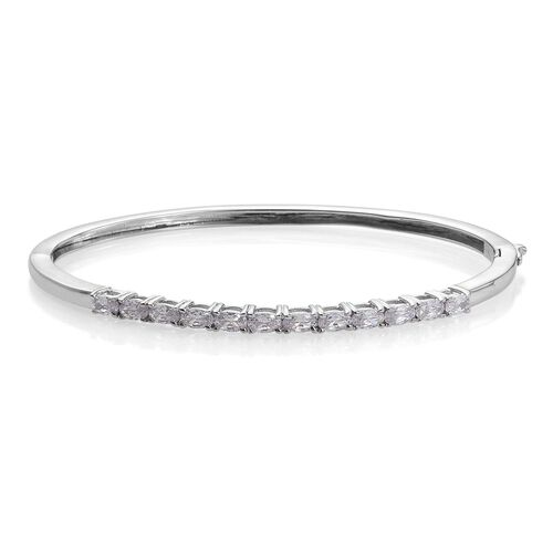 Simulated Diamond (Ovl) Bangle (Size 7.5) in ION Plated Platinum Bond