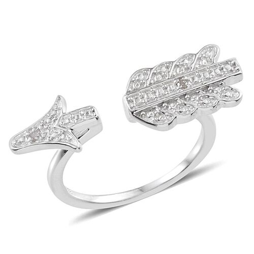 Diamond (Rnd) Arrow Ring in Platinum Overlay Sterling Silver